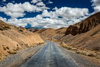Trans-Himalayan Manali-Leh highway road. Ladakh, Jammu and Kashm