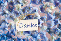 Hydrangea Flat Lay, Danke Means Thank You