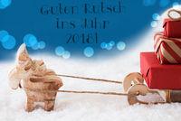 Reindeer On Blue Background, Guten Rutsch 2018 Means New Year