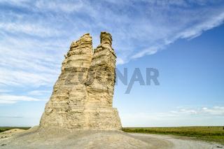 Castle Rock in Kansas prairie