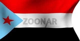 Flag of Yemen (1967–1990) against white background. Close up.