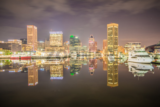 Long exposure of the colorful Baltimore skyline