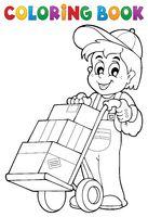 Coloring book warehouse worker