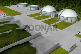Biogasanlage aus Luftperspektive