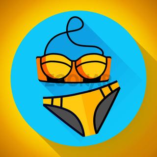Fashionable women gold swimsuit bikini vector icon. Flat design style.