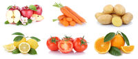 Obst und Gemüse Früchte Sammlung Äpfel, Orangen Essen Freisteller