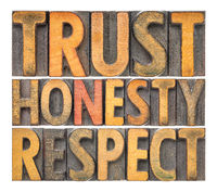 trust, honesty, respect word abstract in wood type