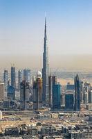 Dubai Burj Khalifa Hochhaus Downtown hochkant vertikal Luftaufnahme Luftbild