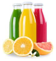 Saft Smoothie Smoothies Flasche Fruchtsaft Früchte Orange Quadrat isoliert freigestellt Freisteller