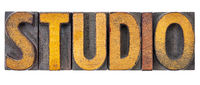 studio word abstract in wood type