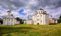 Historical russian orthodox churches ensamble in Novgorod, Russia
