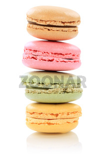 Macarons Macaroons Kekse Stapel Nachtisch Dessert aus Frankreich Freisteller