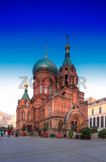 famous harbin sophia cathedral in blue sky from square