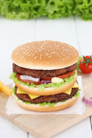 Doubleburger Double Burger Hamburger frisch Fleisch Käse Tomaten Salat