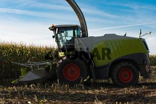 Feldhäcksler bei der Ernte von Mais