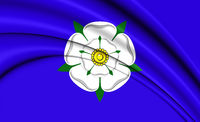 3D Flag of Yorkshire, England. 3D Illustration.