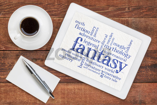 fantasy word cloud on tablet