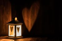 Lantern with heart shaped glass