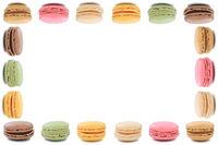 Macarons Macaroons Kekse Nachtisch Dessert aus Frankreich Rahmen Textfreiraum