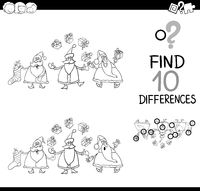 santa difference game for coloring