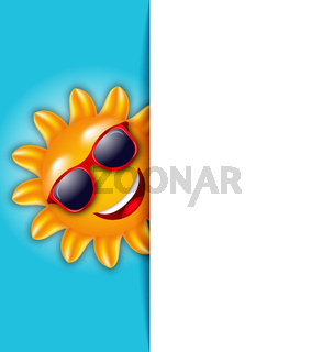 Clean Card with Cartoon Character Sun in Sunglasses