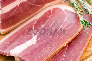 Frsh gammon slice as closeup on a tray