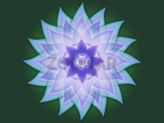 Blüten Mandala Grün Blau Lila