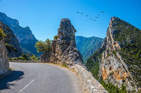 The hairpin bend on a mountain road