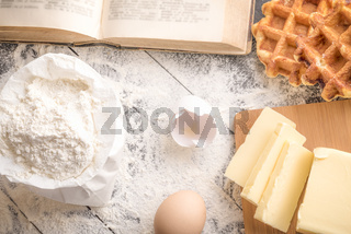 Cooking ingredients and waffles