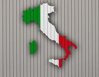 Karte und Fahne von Italien auf Wellblech - Map and flag of Italy on corrugated iron