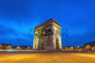 Paris city skyline at Arc de Triomphe and Champs Elysees when sunrise, Paris, France