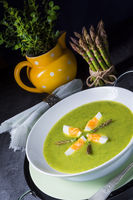 green wild garlic soup with egg