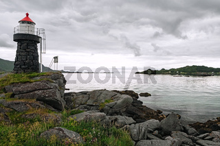 Lighthouse and landscape near Gravdal city, Norway
