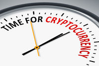 clock with text time for cryptocurrency