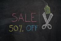 Sale 50% off on chalkboard