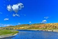 Orkhon river in the steppe landscape, Khangai Nuruu National Park, Oevoerkhangai Aimag, Mongolia