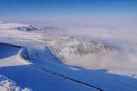 Schneekoppe Aussicht im Winter - view from mountain Sniezka in winter, Giant Mountains