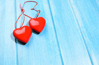 Hearts on wooden table