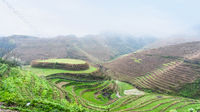 above view of terraced rice gardens on hills