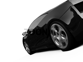 isolated closeup sport car on a white background