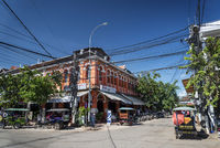 Siem Reap central city tourist area street in Cambodia