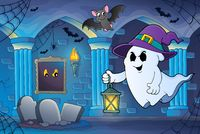 Ghost with hat and lantern theme 6