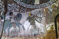 Fresco in the orthodox rock-hewn church Abuna Yemata , Gheralta, Tigray, Ethiopia