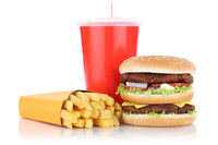 Doubleburger Double Burger Hamburger Menü mit Pommes Frites Getränk Fast Food Freisteller freigestellt