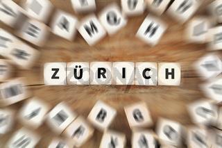Zürich Stadt Schweiz Reise reisen Würfel Business Konzept