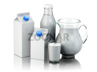 Milk. Glass jug, glass, bottle and carton packs with milk isolated on white.