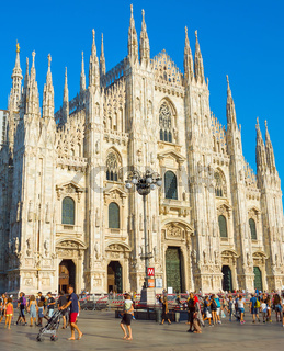 Tourists visit Milan Cathedral, Italy