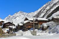 Snow-capped Valais granaries, Blatten, Loetschental, Valais, Switzerland
