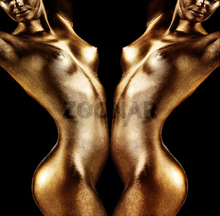Naked woman body with golden skin