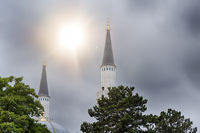 two minarets of a berlin mosque